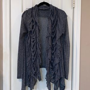 Gray Cardigan with Ruffle front